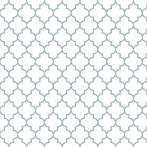 quatrefoil MED slate blue on white