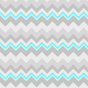 Chevron - Grey/Aqua