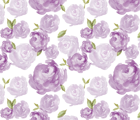 Purple Watercolor Floral fabric by laurapol on Spoonflower - custom fabric
