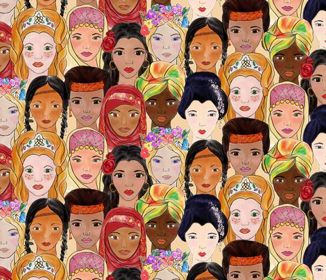 sisterhood around the world fabric by stargazingseamstress on Spoonflower - custom fabric