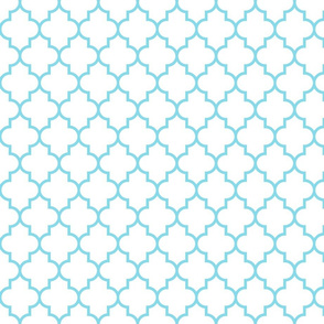 quatrefoil MED sky blue on white