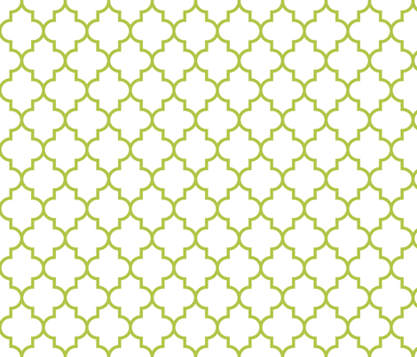 quatrefoil MED lime green on white fabric by misstiina on Spoonflower - custom fabric