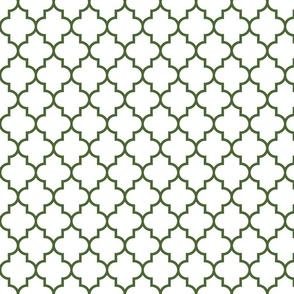 quatrefoil MED hunter green on white