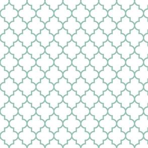 quatrefoil MED faded teal on white