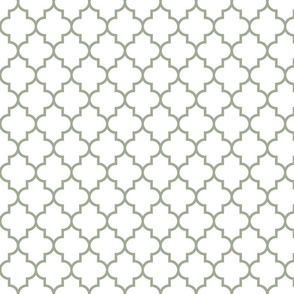 quatrefoil MED sage green on white