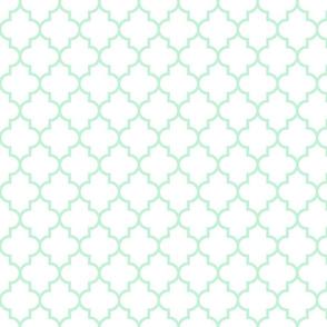 quatrefoil MED ice mint green on white