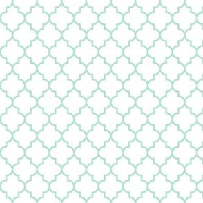 quatrefoil MED mint green on white