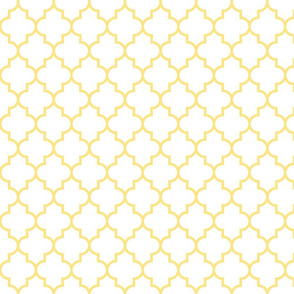 quatrefoil MED sunshine yellow on white