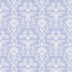 white lace on periwinkle