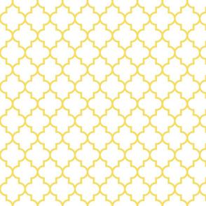 quatrefoil MED butter yellow on white