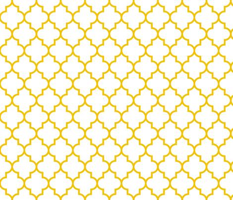 quatrefoil MED mustard yellow on white fabric by misstiina on Spoonflower - custom fabric