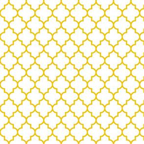 quatrefoil MED mustard yellow on white