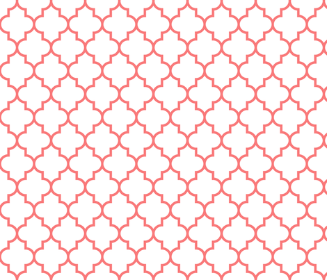quatrefoil MED coral on white fabric by misstiina on Spoonflower - custom fabric