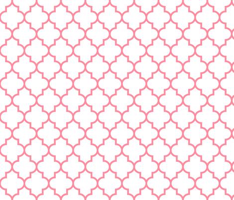 quatrefoil MED pretty pink on white fabric by misstiina on Spoonflower - custom fabric