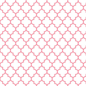 quatrefoil MED pretty pink on white