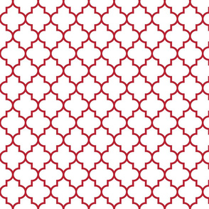 quatrefoil MED red on white