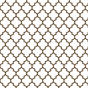 quatrefoil MED brown on white
