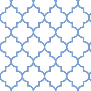 quatrefoil LG cornflower blue on white