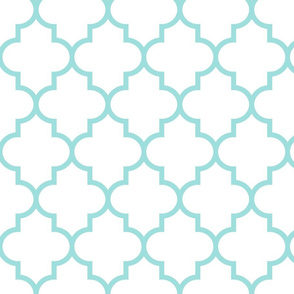 quatrefoil LG light teal on white