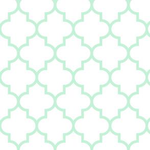 quatrefoil LG ice mint green on white