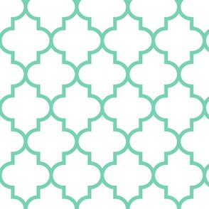 quatrefoil LG sea foam green on white