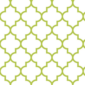 quatrefoil LG lime green on white