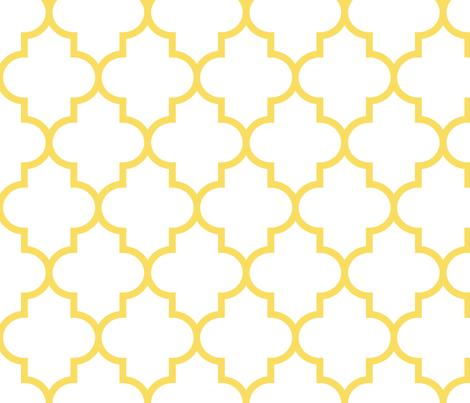 quatrefoil LG butter yellow on white fabric by misstiina on Spoonflower - custom fabric