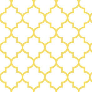 quatrefoil LG butter yellow on white
