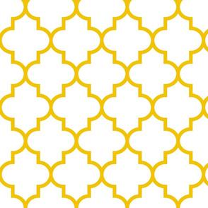 quatrefoil LG mustard yellow on white