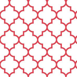 quatrefoil LG bold coral on white