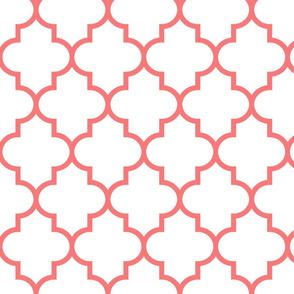 quatrefoil LG coral on white