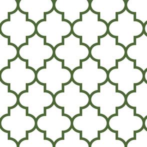 quatrefoil LG hunter green on white