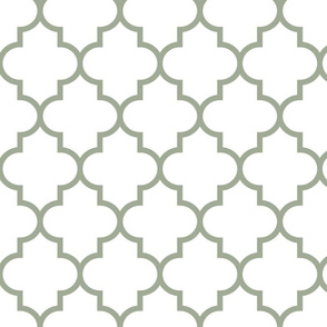 quatrefoil LG sage green on white