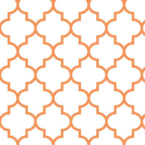 quatrefoil LG tangerine on white