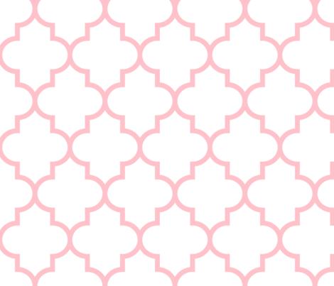 quatrefoil LG light pink on white fabric by misstiina on Spoonflower - custom fabric