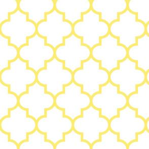 quatrefoil LG lemon yellow on white