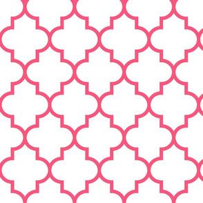 quatrefoil LG hot pink on white