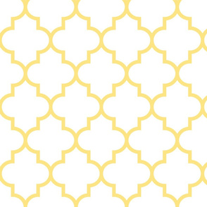 quatrefoil LG sunshine yellow on white