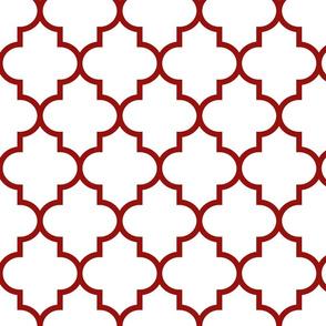 quatrefoil LG dark red on white