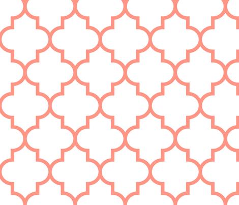 quatrefoil LG peach on white fabric by misstiina on Spoonflower - custom fabric