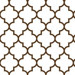 quatrefoil LG brown on white