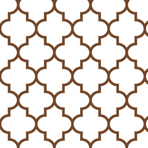 quatrefoil LG chocolate brown on white