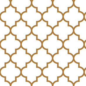 quatrefoil LG caramel on white