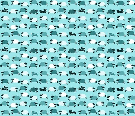 ChasingTheSheep-Aqua fabric by beckarahn on Spoonflower - custom fabric