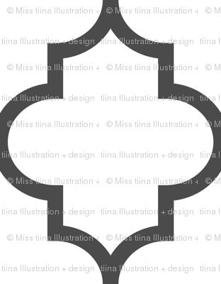 quatrefoil XL dark grey on white