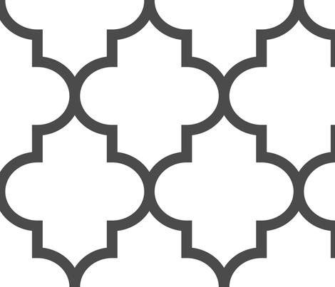 quatrefoil XL dark grey on white fabric by misstiina on Spoonflower - custom fabric