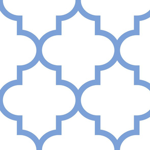quatrefoil XL cornflower blue on white
