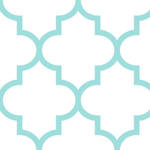 quatrefoil XL light teal on white