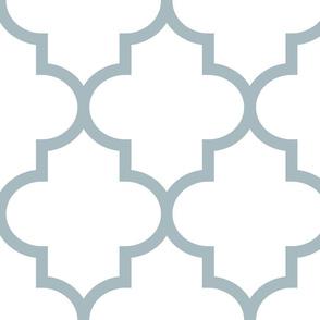 quatrefoil XL slate blue on white