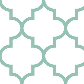 quatrefoil XL faded teal on white